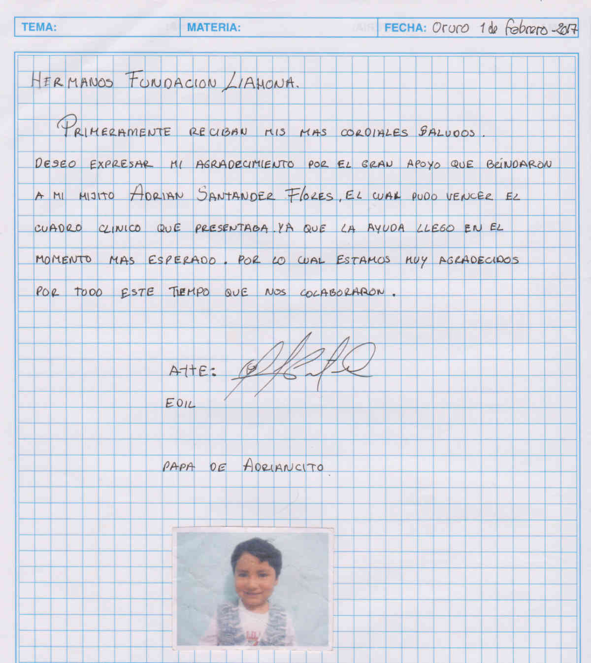 Oruro 3 10 17 Adrian Romero Thank You Letter